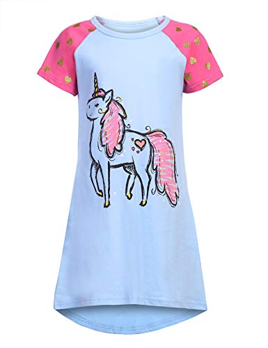 24f9f739f4 Balasha Big Girls  Unicorn Printed Short Sleeve Cotton Jersey Nightgown  Sleepwear