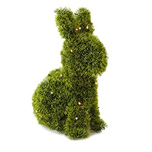 A&T Designs Bunny Rabbit Shaped Animal Artificial Topiary Plant with Battery Operated LED Lights and Timer - Indoor & Outdoor Use Decoration 21