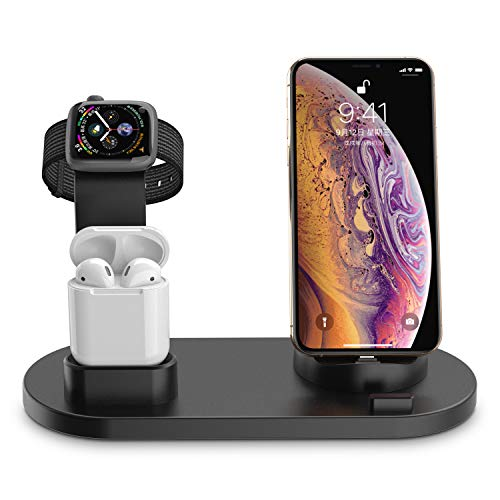 XDODD Charging Stand for Apple Watch Charging Docks for AirPods Charging Station for iPhone Compatible with Apple Watch Series 4/3/2/1/ AirPods/iPhone Xs/X Max/XR/X/8/8Plus/7/7 Plus /6S /6S Plus/iPad