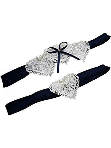 YhdDiy New Style Heart Shape Wedding Garter Rhinestone Bow Garter for Bride S45 (Navy) ()