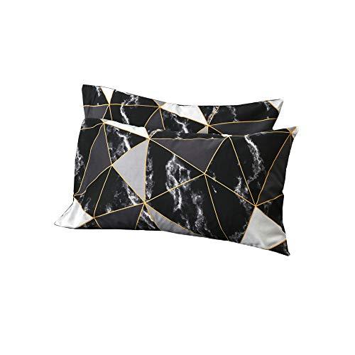 Wellboo Black and White Marble Pillowcases Black White Geometric Triangle Pillow Shams Queen Standard Size Pillowcases Cotton Women Men Teens Abstract Texture Pillow Shams No - Standard Triangle