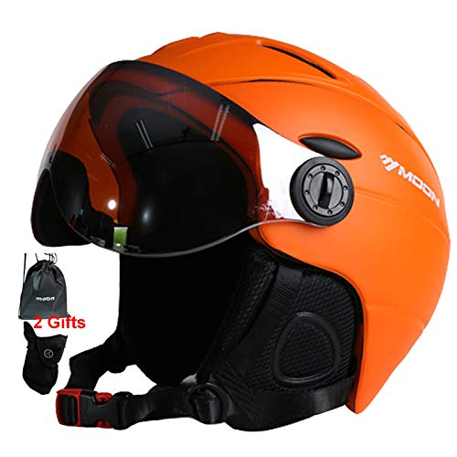 MOON Snow Ski Helmet with Detachable Glasses – 2 in 1 Integrally-Molded Snow Helmet for Adult, Sports Helmet Protective Glasses - Windproof Protective Gear for Skiing, Snowboarding, Skateboard Helmet
