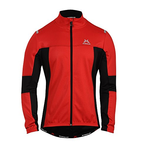 Hysenm SPEED 20-50 Degree Mens 8D Cut Windproof Breathable Cycling Fleece Thermal Sportswear Long Jersey Winter Jacket XL Red & Black