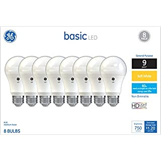 GE Lighting 37043 Light Bulb General Purpose Basic A19 Daylight LED 10 (60-Watt Replacement), 750-Lumen Medium Base, 8-Pack, Soft White, 8 Count