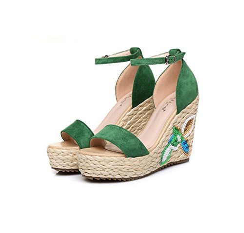 Summer Wedge Embroidery Braided Thick High-Heeled Sandals Sexy Ankle Shoes (Color : Green 9cm, Size : 38)