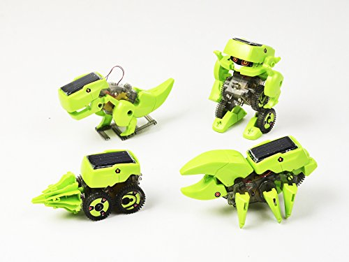 iLoonger T4 Transforming Solar Robot Kit Learning Toy Kit Educational Gift Mechanics Robotics Robot Insect T-rex Drill Vehicle