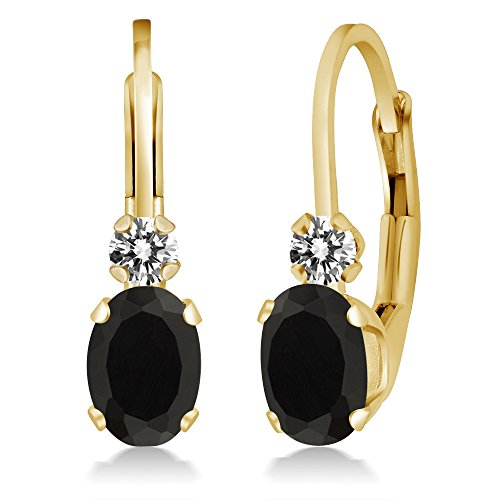 Gem Stone King 0.85 Ct Oval Black Onyx White Diamond 14K Yellow Gold -