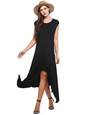 Meaneor Women Hi Low Swing Dress Cap Sleeve Casual Long Jersey Party Beach Dress