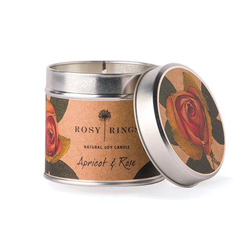 Rosy Rings Soy Tin Candle, Apricot and Rose