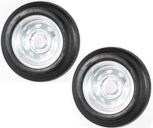 2-Pack Trailer Tire On Rim 480-12 4.80-12 LRC 5 Lug Galvanized Spoke