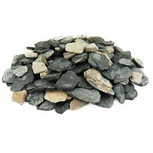 Black and Tan Slate Chips | 20 lbs | 100% Natural Decorative Garden Stones | Ideal Ground Cover or Top Dressing | Adds Contemporary Look to Any Landscape Design | 1 Inch - 3 Inch