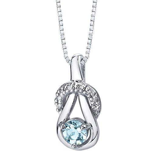 Aquamarine Ribbon Pendant Necklace Sterling Silver 0.50 carats Premium Grade Aquamarine Pendant