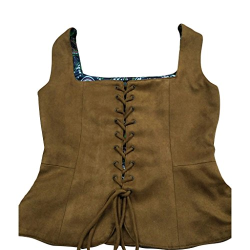 Bodice Vest (COUCOU Age Vintage Medieval Corset Vest Gilet for Women Girls,Brown,US 6-8)