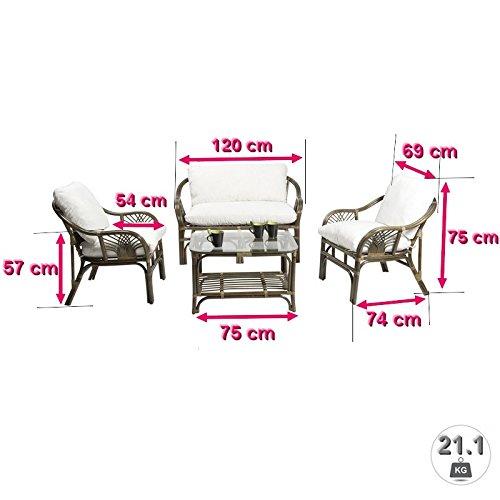 Rotin Design Rattan- Sitzgarnitur SOLLER - vierteilig Weiß - inkl. Polsterauflagen - Braun Weiß vierteilig 7a1afa