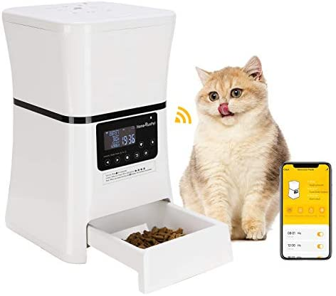 HomeRunPet Automatic Pet Feeders Smart Food Dispenser for Small Dogs and Cats with Wi-Fi Enabled Feeder, Touch Control, Feeding Memory Storage, Programmable Timer for up to 5 Meals Day