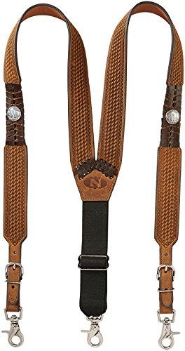 - Nocona Belt Co. Men's Buffalo Nickel Basket Leather Suspender, Brown, Medium