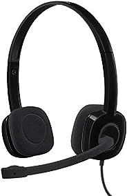 Logitech 981-000587 H151 - Audífonos estéreo con micrófono , 3.5 mm, Negro