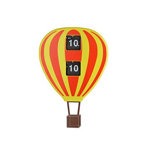 Li-lamp Flip Down Clock, Personalised Hot Air Balloon Silent Tick Wall Clock (Color : C)