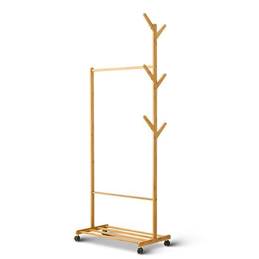 DUOMING Percheros Soporte de Capa de bambú Sombrero Simple ...