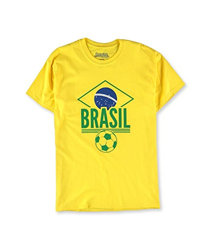 Stitches Athletic Gear Mens Brasil Soccer Graphic T-Shirt (Yellow, L)