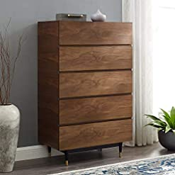 Bedroom Modway Caima Mid-Century Modern 5-Drawer Wood Chest in Walnut