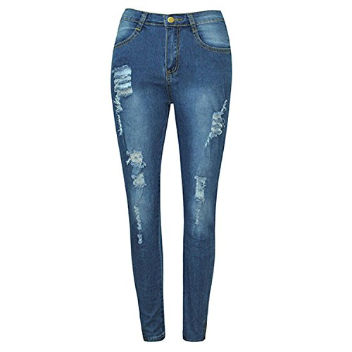 Trous Mi Printemps Jean LAEMILIA Taille Droit Femme Pantalon Dchir Slim Haute Denim Bleu Skinny axcXFSXzwq
