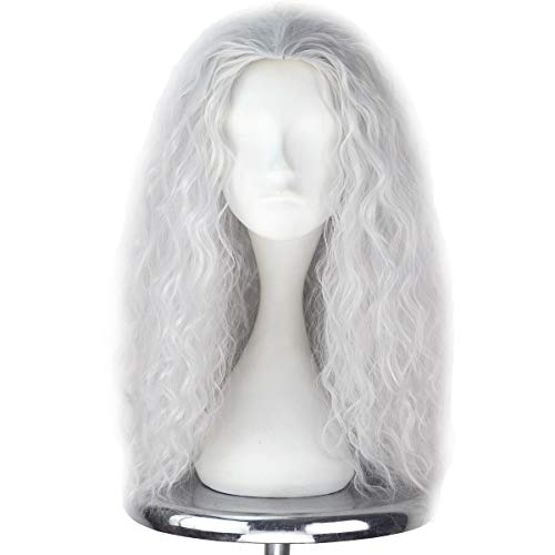 ACE SHOCK Cosplay Wig Unisex, Synthetic Long Wavy Halloween Movie Costume Hairpiece 4 Colors (Silvery Grey) -
