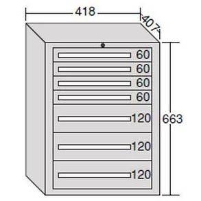 OS(大阪製罐) ミゼットキャビネット 7段 ライトグレー M10-2G B007R14KCE