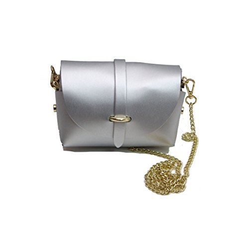 fastening clutch with with strap beautifully gold chain desigined belt bag Silver detatchable evening A qtF47B