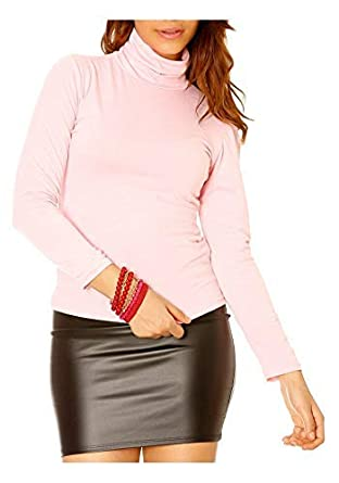 478828be09652 sous-Pull Basic Femme Rose à col roulé - Unique, Rose  Amazon.fr ...
