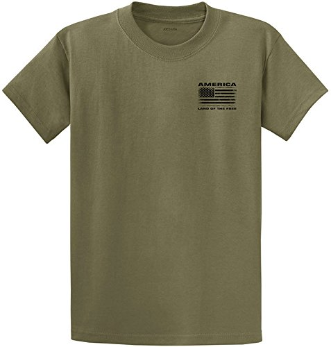 Joe's USA Vintage America Land of The Free Flag T-Shirt-Olive/b-XL