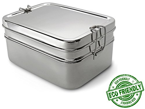 Lifestyle Block Stainless Lunch Box - Steel Eco-Friendly 3 Compartment Lunch Set - Large Adult Size The Only Lunchbox You Will Ever Need!