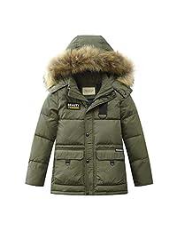 LISUEYNE Boys Kids Winter Jacket Hooded Down Coat Puffer Jacket Mid-Long Parka Coats