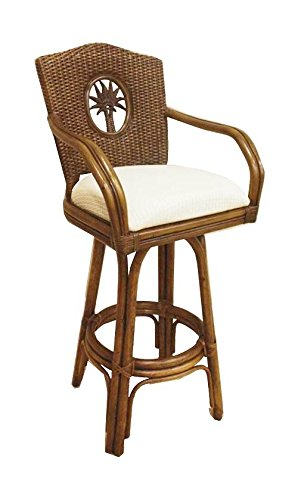 Rattan & Wicker Counter Stool in TC Antique w Cushion (Dolce Oasis) ()