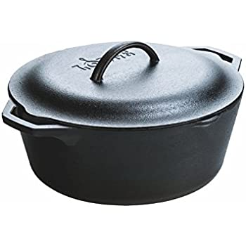 Lodge 7 Quart Pre-Seasoned Cast Iron Dutch Oven. Classic 7-Quart Cast Iron Pot with Lid and Dual Handles for Slow Cooking.