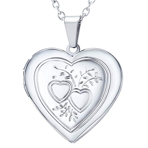 U7 Heart & Heart Locket Necklace That Hold Picture Platinum Plated Link Chain Pendant Memorial Jewelry for Women Girls