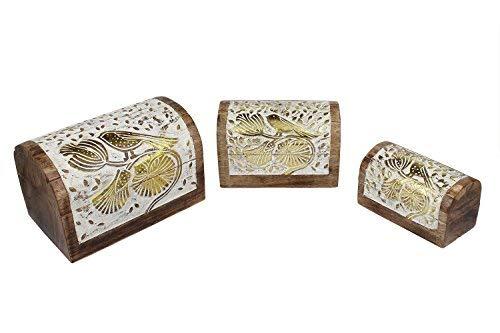 storeindya Handmade Wooden Jewelry Box Set of 3 Keepsake Storage Organizer Multipurpose Box Treasure Chest Trinket Holder for Women Men Girls Floral Design (Floral Bird Collection)