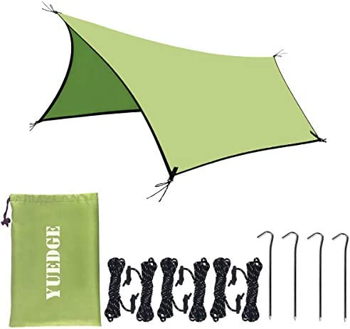 YUEDGE YUEDGE 13 Ft Rain Fly Traps Waterproof Camping Tent Tarps Hammock Rain Fly Shelter Sunshade Rope Stakes, Army, 10 x 13 , XL L400XW300 cm, Green