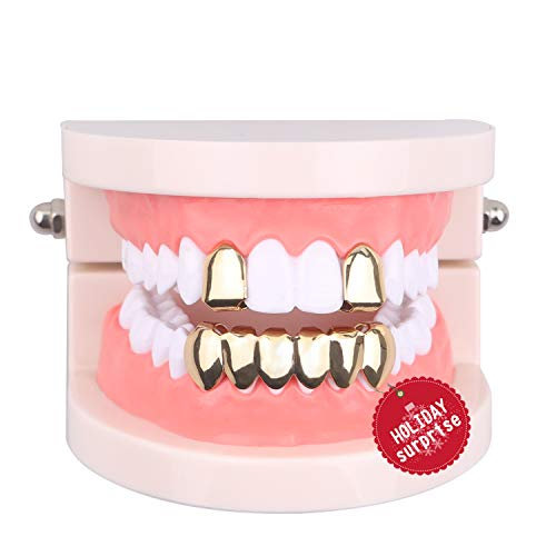 TSANLY Gold Grillz Mouth Teeth 24K Plated Gold Custom Fit Top & Bottom Set Caps Grillz for Women Gift + Extra Molding Bars + Microfiber ()