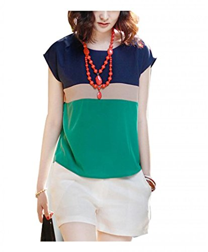 VOBAGA Womens Loose Casual Stripe Color Collision T-Shirt Tops Blouse Green S