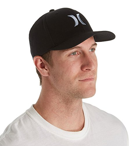 Hurley MHA0002190 Men's One And Only Black White Hat, Light Arm Blue - (Signature Flex Fit Hat)
