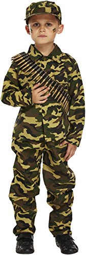 Soldier Outfit (Boys Camouflage WW1 WW2 Army Soldier Boy Military Armed Forces Costume Age 7-9)