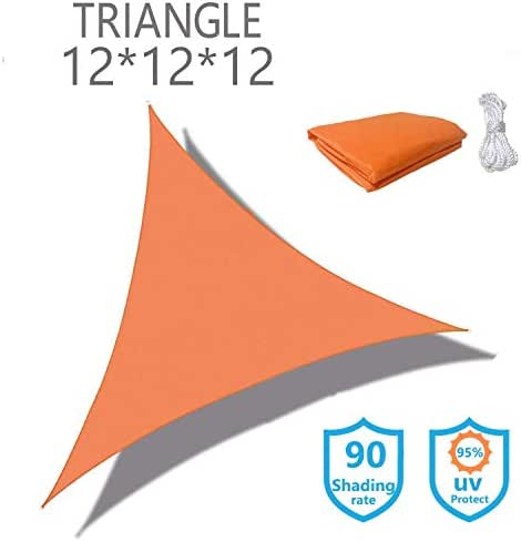 KUD Shade Triangle 12'x12'x12'Orange Waterproof Sun Shade Sail Triangle Canopy Perfect for Outdoor Garden Patio Permeable UV Block Fabric Durable Outdoor