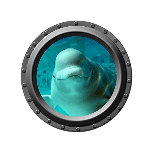 Whale Porthole - Beluga Whale Design 3 - Porthole Wall Decal