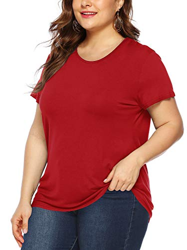 (Amoretu Womens Plus Size Short Sleeve Tops Casual Crew Neck Tee Shirt for Summer(Red,XL))