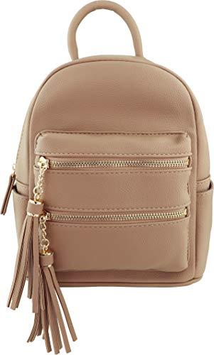B BRENTANO Vegan Multi-Zipper Top Handle Mini Backpack with Tassel Accents (Nude)