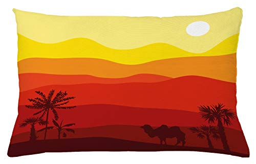 Ambesonne Landscape Throw Pillow Cushion Cover, Abstract Exotic Dessert Outdoor Scene with Camel and Trees in Warm Colors Palette, Decorative Accent Pillow Case, 26 X 16 Inches, Multicolor