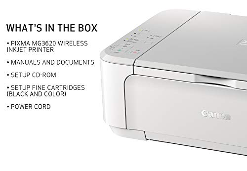 Canon PIXMA MG3620 Wireless All-In-One Color Inkjet Printer with Mobile and Tablet Printing, White by Canon (Image #3)