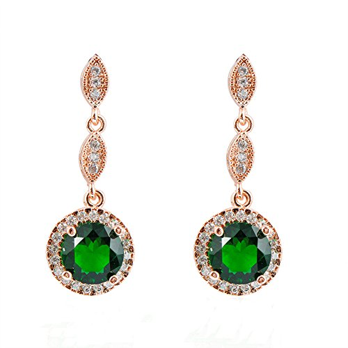 Price comparison product image Junxin Jewelry Emerald Diamond Earrings for women 10KT Rose Gold