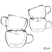Tealyra - UNIVERSE 230ml - Set of 4 - Double Wall Glasses With Handle - Perfect Clear Cups - Tea - Coffee - Cappuccino - Heatproof Insulating - Keeps Beverages Hot - 8-ounce